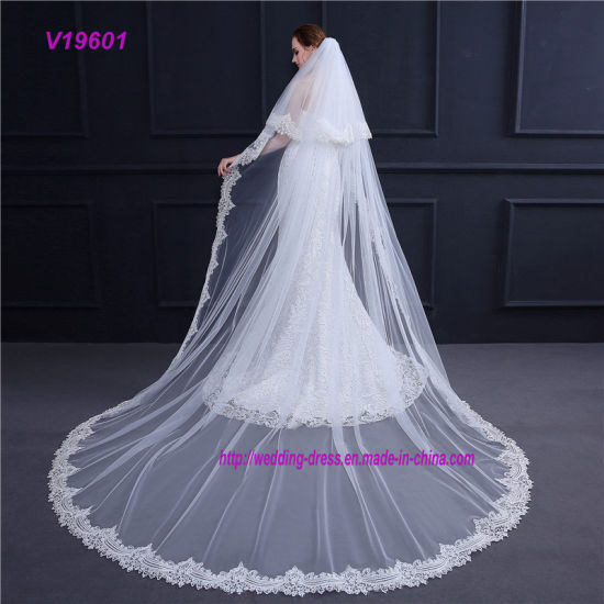 3m Lace Edge White Ivory Cheap Wedding Veil