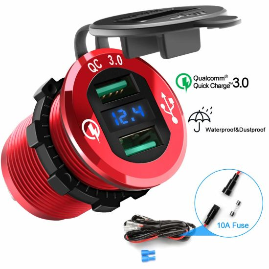 Dual QC3.0 USB Car Charger Quickly Charge 4.8A USB Car Socket X2&Waterproof Power Outlet with LED Voltmeter