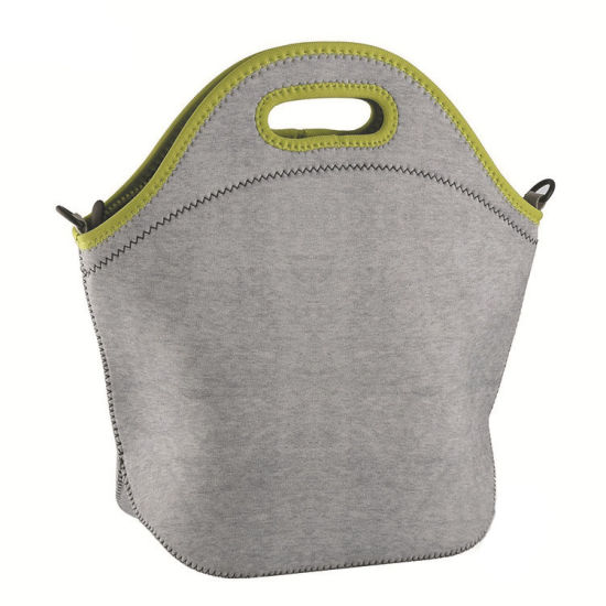 New Fashion Classic Basic Neoprene Lunch Bag for Picnic or Work with Shoulder Strap and Bottle Holder