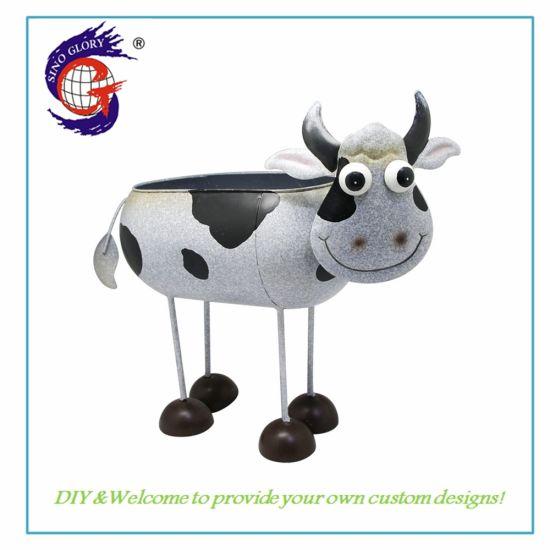 Metal Cow Shape Animal Garden Flower Pot for Garden Decorations
