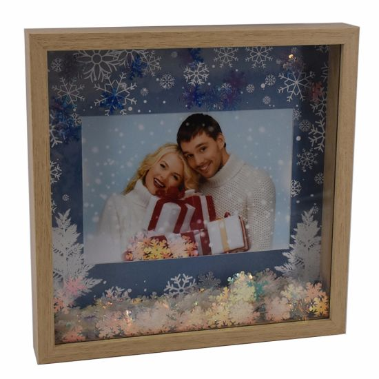 New Wooden Looking Glitter Christmas Photo Frame pictures & photos