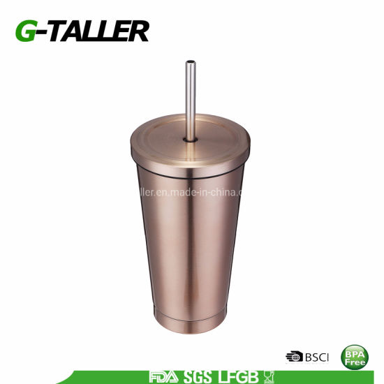 Stainless Steel Hot and Cold Double Wall Drinking Tumbler with Straw