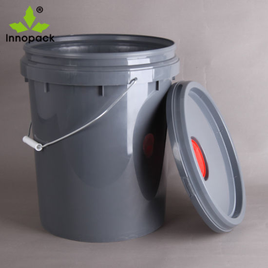Grey PP Plastic Lubricant Pail with Spout Lid and Metal Handle