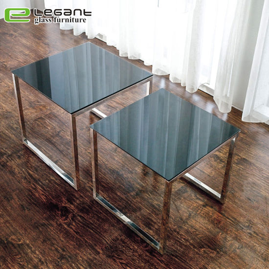 China Modern Square Tempered Glass Top Coffee Table Center Table