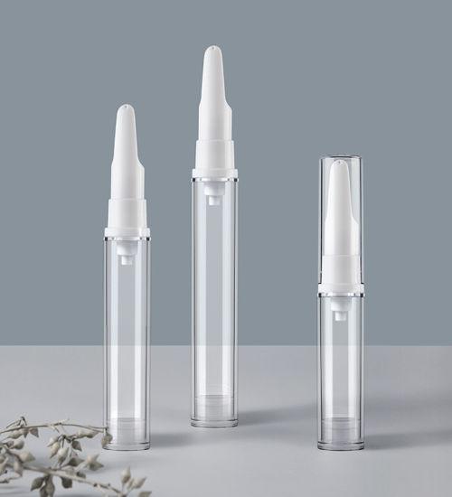 Wholesale 5ml 10ml 15ml Airless Cosmetic Bottles White Eye Cream Bottle Empty Travel Mini Vacuum Clear Round Airless Lotion Cream Plastic Bottle for Skin Care