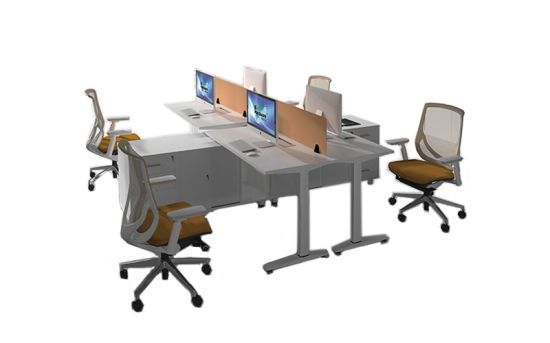Office Furniture 4 Pax Workstation Desk with Cabinet (SEDK1014)