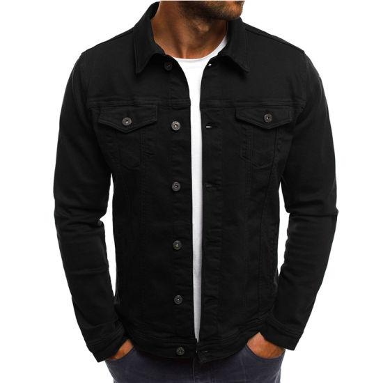 2021 New Fashion Cotton Casual Black Men's Denim Jeans Jacket