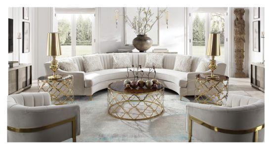 China Modern European Style Soft Cafe Loveseat Sofa Living Room Furniture French Velvet Sofa Curved Shape China Living Room Sofa Leather Sofa