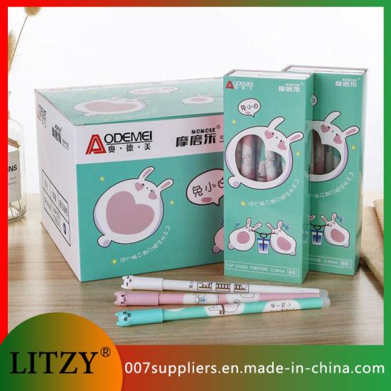 Wholesale Rabbit Erasable Pen 0.38mm Erasable Gel Ink Pen Eraser for Stationery Supply