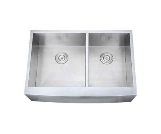 China Farm A Front Radius Double Bowl Handmade Kitchen Sink