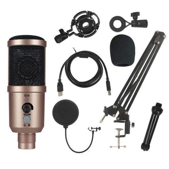 Condenser USB Microphone Desktop Computer Laptop Condenser Microphones for PC Gaming Youtube Recording
