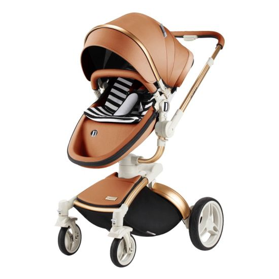 Dearest 3 in 1 High Landscape Leather Baby Stroller with Sleeping Basket pictures & photos