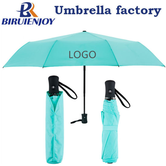 3 Fold Compact Rain Sun Travel Umbrella for Promotion Light Blue Auto Open Auto Close