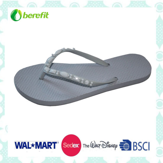 PE Sole and PVC Upper, Beed Decoration, Slippers