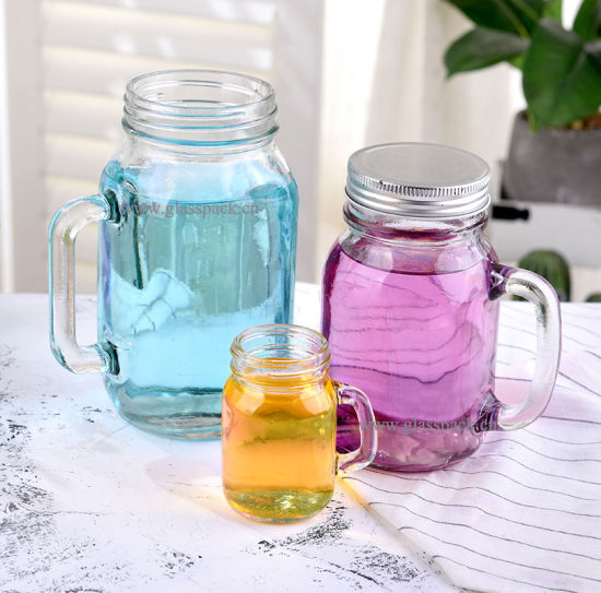 Handled Glass Mason Drinking Jar with Cap and Straw