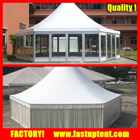 High Peak Hexagon Dome Pagoda Tent with Clear Window Roof