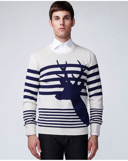Long Sleeve Pullover Pattern Jacquard Knitted Men Sweater