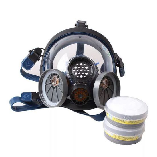 Protective Double Filter Cartridge Silica Gel Respirator Mask Full Face