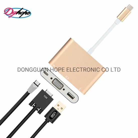 Hope Factory Price HDMI Cable Support 4K USB Adapter Type C to HDMI to VGA Hub