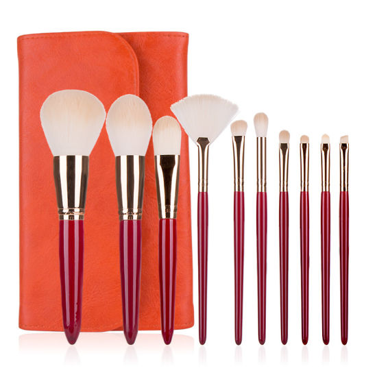 10PCS Cherry Red Beauty Tools Makeup Brush Set Cosmetic Brushes