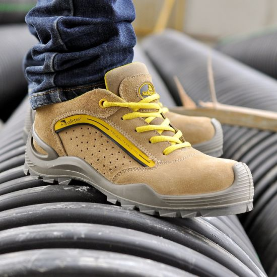 Safetoe Suede Leather Working Safety Shoes Manufacturer Steel Toe, CE S1p Antistatic & Oil Resistant Safety Work Shoes for Industrial Dubai Price Men & Women