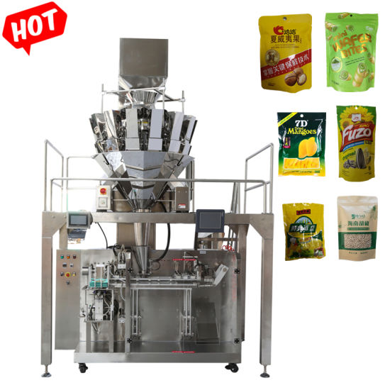 Premade Pouch Bag Cashew/Grain/Sugar/Dry Fruit Automatic Packaging Machine Multihead Weigher Packing