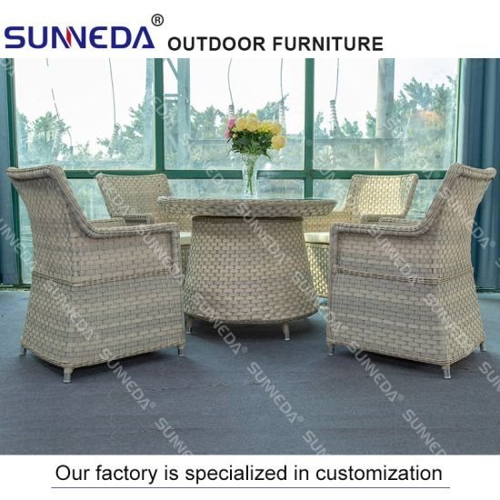 Wholesale Rattan Outdoor Garden Hotel Patio Furniture with Glass
