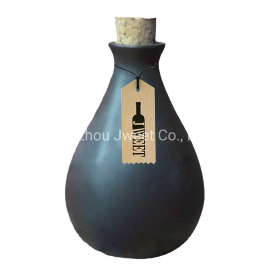 Custom Round 750ml Black Tequila Ceramic Bottle with Cork