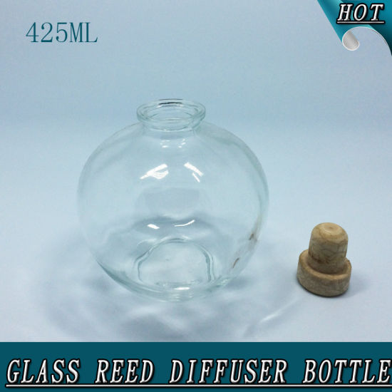 425ml Sphere Clear Empty Cork Stopper Aroma Oil Glass Reed Diffuser Bottle pictures & photos