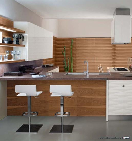 China Simple Kitchen L Shape Design Cheap Wood Venner Glass Door