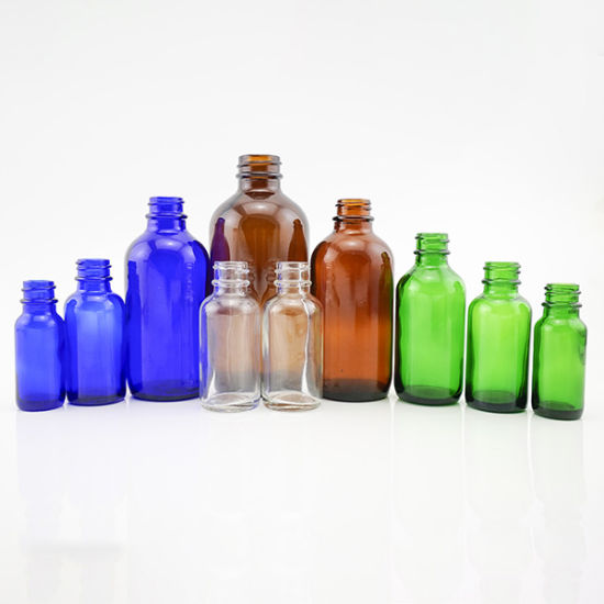 Clear Amber Blue Green Color Boston Round Glass Bottles