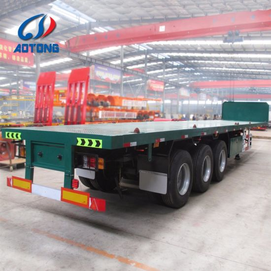 3 Axles Second Hand Used Flatbed Container Semi Trailer pictures & photos