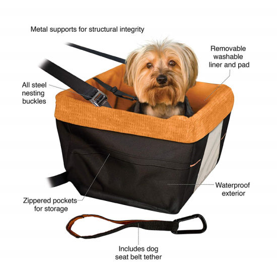 Hot Selling Soft Comfortable Portable Dog Booster Car Seat with Clip-on Safety Leash