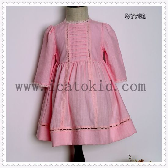 Short Fashion 100% Cotton Smocked Dress for Kids Dress