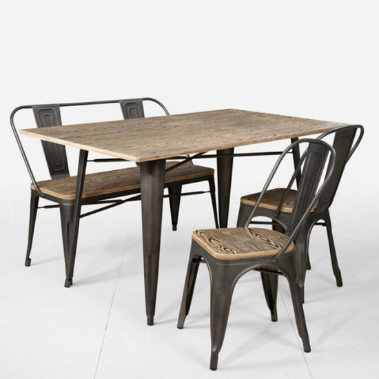 Metal Tolix Dining Table Side Chairs, Replica, Antique, Indoor Outdoor Use