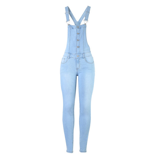 High Stretchy Long Suspenders Jeans for Ladies