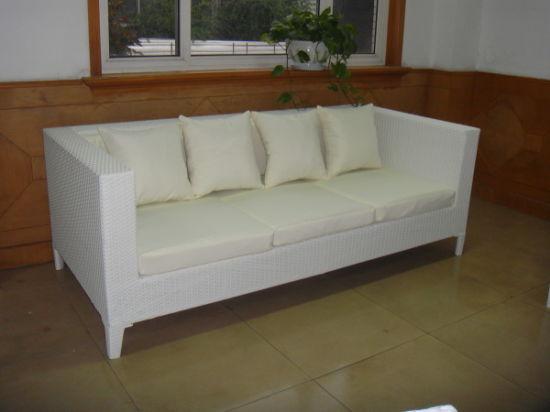 3-Seater Sofa/White Rattan Sofa/Outdoor Sofa/Wicker Sofa Couch (WF-0778)