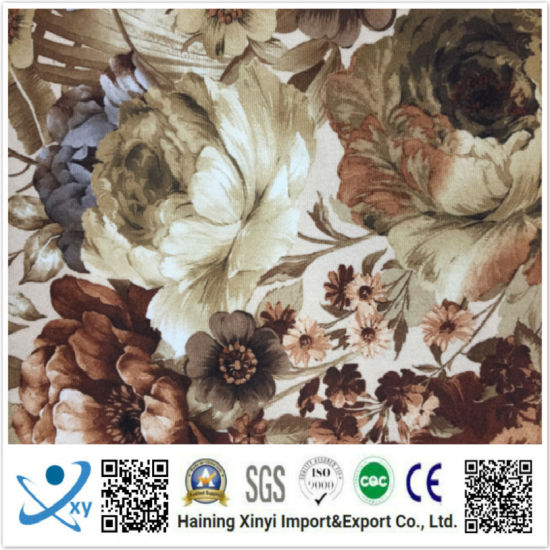 Latest Design Popular Retro Flower 100% Polyester Woven Imitation Linen Printed Fabric pictures & photos