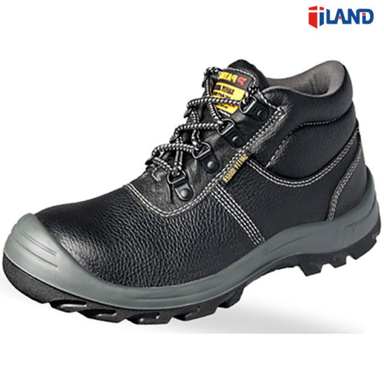 Leather Safety Work Labor Footwear Shoes with PU Outsole Steel Toe & Midsole