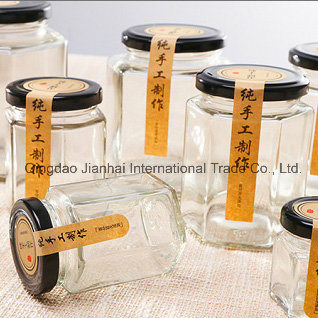 Eco-Friendly Hexagonal Honey Jam Jar Glassware with Multi-Size pictures & photos