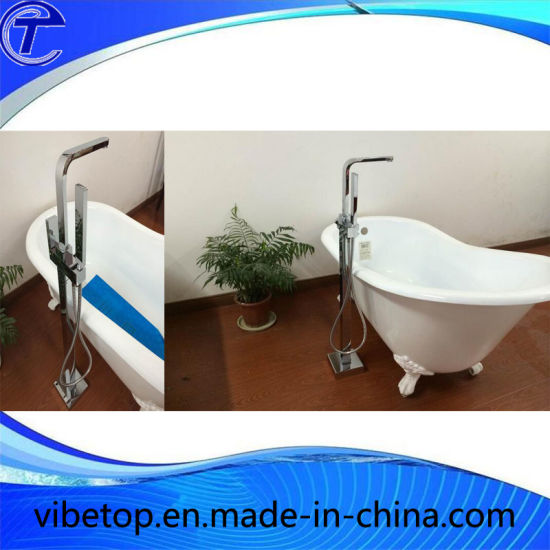 Bathroom Floor Mounted Freestanding Bathtub Shower Faucet with Hand Shower pictures & photos