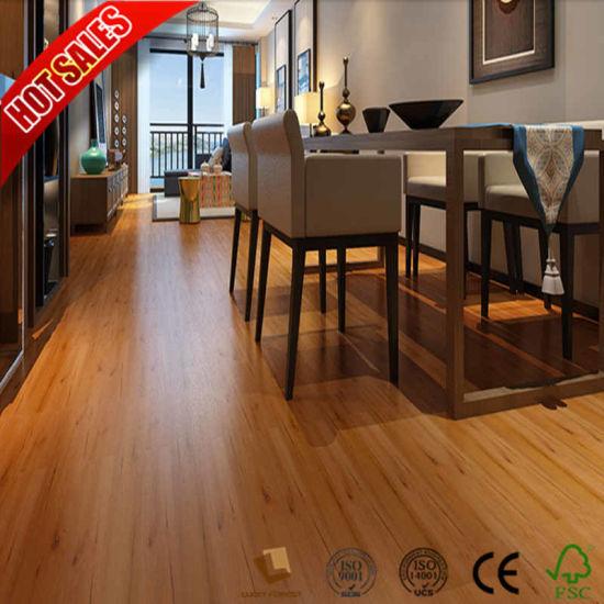China Cheap Price Distressed Laminate Flooring Teak Wood 12mm