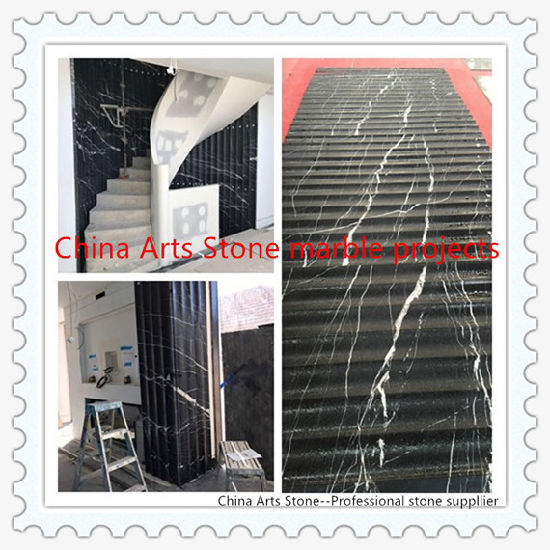 China Nero Marquina Black Flute Marble Tile for Rotating Steps Wall