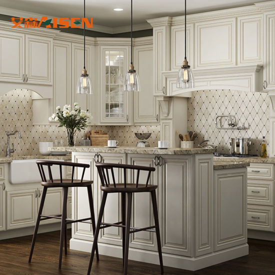 French Style Solid Wood Kitchen Cabinet, French White Oak Kitchen Cabinets