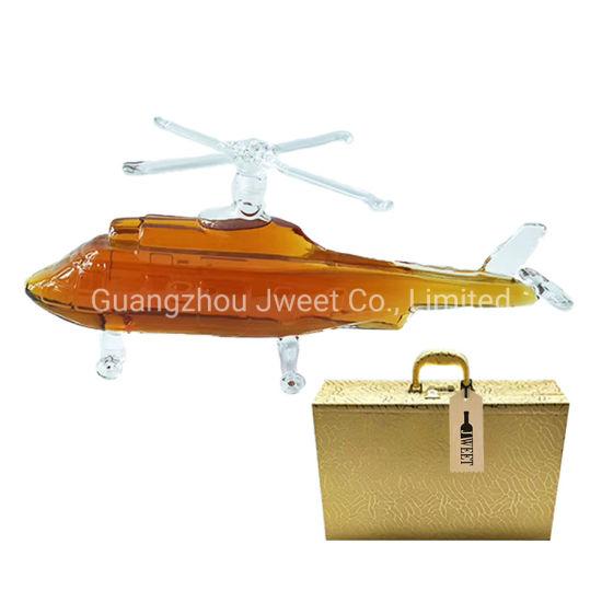 Customized 750ml High Borosilicate Glass Plane Aircraft Shape Brandy Bottle