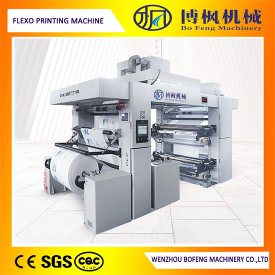 4 Color Ci Flexographic/Flexo Printing Machine with Camera with Double Winder