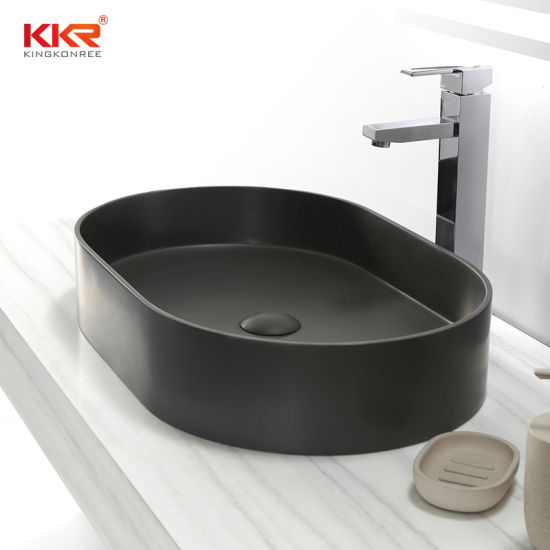 Bathroom Sink in Concrete Grey Artificial Stone Corian Vanity Lavatory Solid Surface Sink
