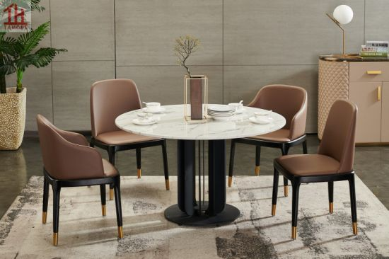 China Luxury Italian 1 3m Marble Top, Round Dining Set For 4