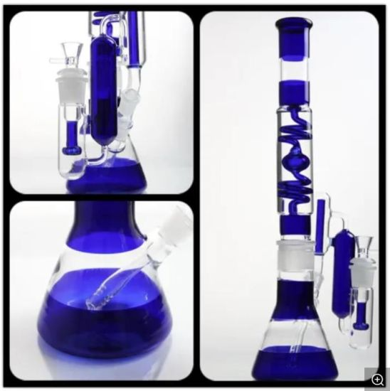 19.5'' Glass Smoking Pipe Blue Beaker and Amazing Filter