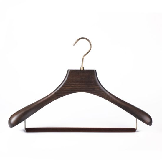 Luxury Customized Retro Wooden Coat Suit Hangers With Non Slip Velvet Bar